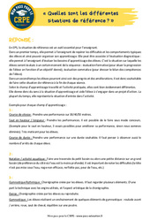Quelles sont les différentes situations de référence? - EPS - CRPE