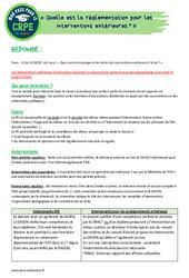 Quelle est la réglementation pour les interventions extérieures? - CRPE