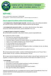 Quelles sont les informations à renseigner dans un rapport d'accident scolaire? - CRPE2022