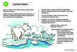 Ourson blanc – CE1 – Lecture compréhension – Histoire illustrée - Niveau 2