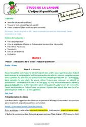 L'adjectif qualificatif – Ce2 – Étude de la langue – Fiche de préparation
