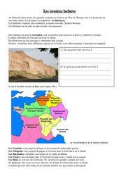 Invasion de l'empire romain par les barbares - Exercices - Moyen âge - Ce2 - Cm1 - Cycle3