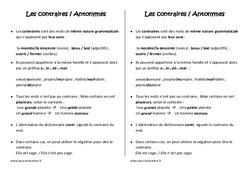 Mots de sens contraire - Cm2 - Leçon