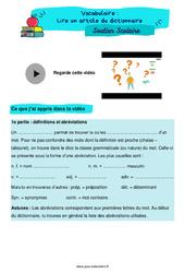 Lire un article du dictionnaire – CM1 – Soutien scolaire pour les élèves en difficulté.