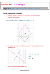 Propriété de la médiatrice et construction au compas – 5ème – Les triangles – Cours
