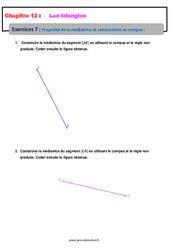 Propriété de la médiatrice et construction au compas – 5ème – Les triangles – Exercices avec les corrections