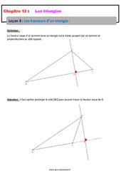 Les hauteurs d'un triangle – 5ème – Cours