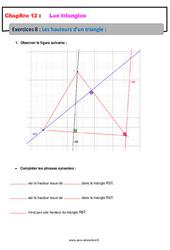 Les hauteurs d'un triangle – 5ème – Exercices avec les corrections