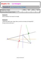 Les hauteurs d'un triangle – 5ème – Evaluation, bilan, contrôle avec la correction