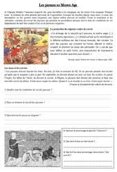 Paysans au Moyen Age  - Exercices - Documentaire - Moyen âge - Cm1 -  Cycle 3
