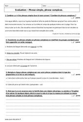 Phrase complexe – Phrase simple – 4ème – Evaluation avec le corrigé