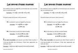 Lettres finales muettes - Cm2 - Leçon