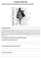 Tenue et alimentation – Paysans au Moyen Age – Exercices – Moyen âge – Cm1 – Cycle 3