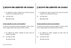 Accord des adjectifs de couleur – Cm2 – Leçon