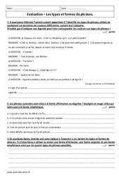Types et formes de phrases – 3ème – Evaluation avec le corrigé