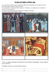 La place de l'église au Moyen Age - Exercices - Cm1 - Cycle 3