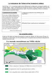 La naissance de l'islam et l'invasion arabe - exercices - Moyen Age -  Cm1 - Cycle3