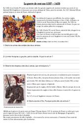 Guerre de cent ans – Exercices – Moyen Age – Cm1 – Cycle 3