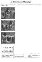 Cérémonie du sacre de Hugues Capet - Exercices - Moyen Age - Cm1 - Cycle 3