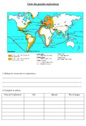 Carte des grandes explorations - Exercices - Les temps modernes - Cm1 - Cycle 3