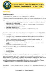 Quelles sont les compétences travaillées dans le champ d'apprentissage 3 au cycle 2? - EPS - CRPE