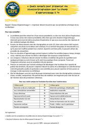 Quels conseils pour présenter ma situation / progression pour le champ d'apprentissage 3? - EPS - CRPE