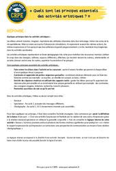 Quels sont les principes essentiels des activités artistiques? - EPS - CRPE