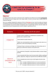 Quels sont les attendus de fin de cycle 3 en français? - CRPE2022