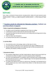 Quelle est la seconde priorité du référentiel de l'éducation prioritaire? - CRPE2022