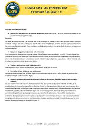 Quels sont les principes pour favoriser les jeux? - EPS - CRPE2022