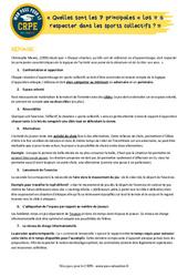 Quelles sont les 7 principales « lois » à respecter dans les sports collectifs? - EPS - CRPE2022
