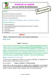 Lire un article de dictionnaire – Ce2 – Étude de la langue – Fiche de préparation