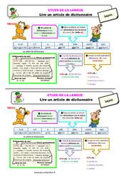 Lire un article de dictionnaire – Ce2 – Étude de la langue – Leçon