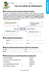 Lire un article de dictionnaire – Ce2 – Étude de la langue – Exercices avec les corrigés