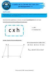 Quelle est la formule de l'aire d'un parallélogramme? - CRPE2022