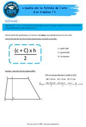 Quelle est la formule de l'aire d'un trapèze? - CRPE2022