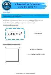 Quelle est la formule de l'aire d'un carré? - CRPE2022