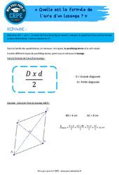 Quelle est la formule de l'aire d'un losange? - CRPE2022