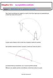 Définition de la symétrie centrale – 5ème – Cours