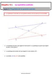Propriétés de la symétrie centrale – 5ème – Cours