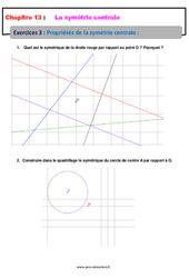 Propriétés de la symétrie centrale – 5ème – Exercices avec les corrections