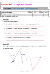 Propriétés de la symétrie centrale – 5ème – Evaluation, bilan, contrôle avec la correction
