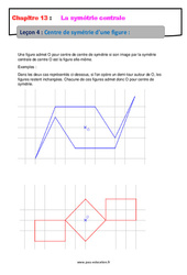 Centre de symétrie d'une figure – 5ème – Cours