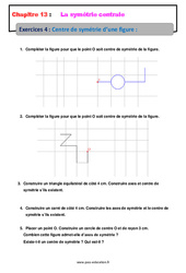 Centre de symétrie d'une figure – 5ème – Exercices avec les corrections