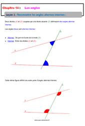 Reconnaître les angles alternes-internes – 5ème – Cours