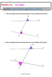 Reconnaître les angles alternes-internes – 5ème – Exercices avec les corrections