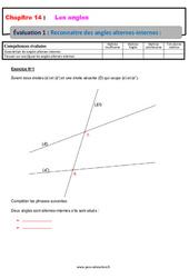 Reconnaître les angles alternes-internes – 5ème – Evaluation, bilan, contrôle avec la correction
