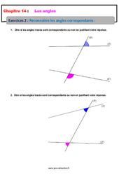Reconnaître les angles correspondants – 5ème – Exercices avec les corrections