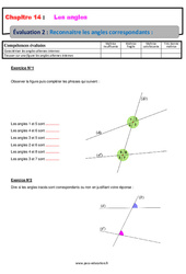 Reconnaître les angles correspondants – 5ème – Evaluation, bilan, contrôle avec la correction