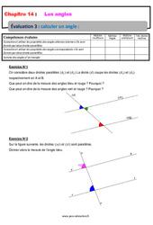 Calculer un angle – 5ème – Evaluation, bilan, contrôle avec la correction